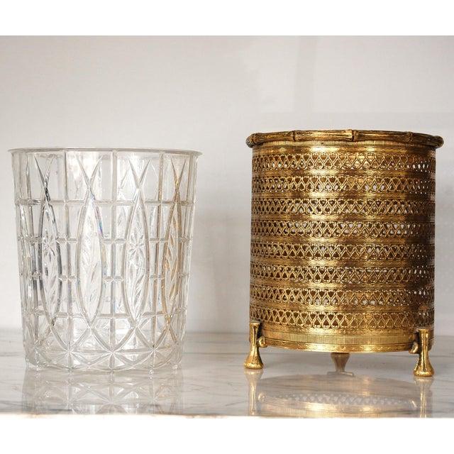 Hollywood Regency Hollywood Regency Gold Waste Basket For Sale - Image 3 of 6