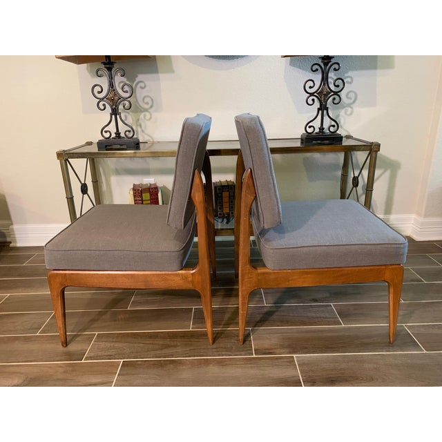 Pair of Mid-Century Gray Linen Chairs For Sale - Image 9 of 11
