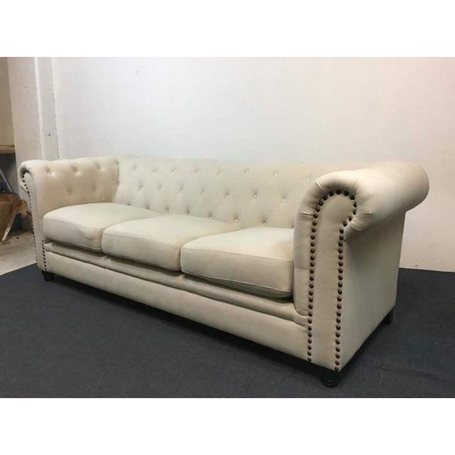 White Tufted Chesterfield Sofa - Image 4 of 9