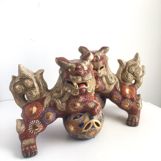 Asian 1970s Hollywood Regency Large Red Gilt Foo Dogs - a Pair For Sale - Image 3 of 10
