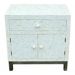 Indian White Bone Side Table on Epns Stand For Sale