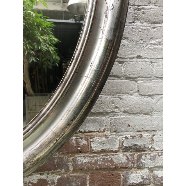 Boho Chic Rare 19th Century Ovale Silver Leaf Gilded Mirror For Sale - Image 3 of 7