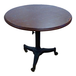 1940s Industrial Adjustable Height Table