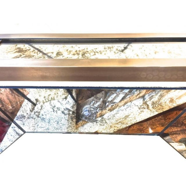 Contemporary Andre Hayat Large Octagonal Chandelier in Patina Bronze and Oxidized Mirror For Sale - Image 3 of 8