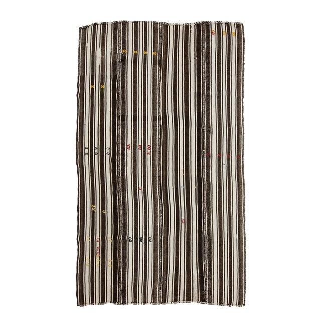 1960s Vintage Brown & White Striped Kilim Rug- 5′8″ × 9′6″ For Sale