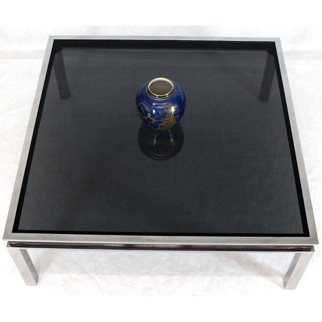 1970s Extra Large Polished Chrome Square Smoked Glass Coffee Table For Sale In New York - Image 6 of 13