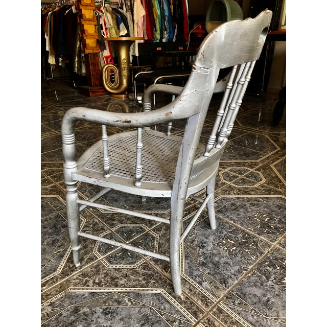 Wood 1940s Vintage Shabby Chic Lilac Wood and Cane Accent Chair For Sale - Image 7 of 13