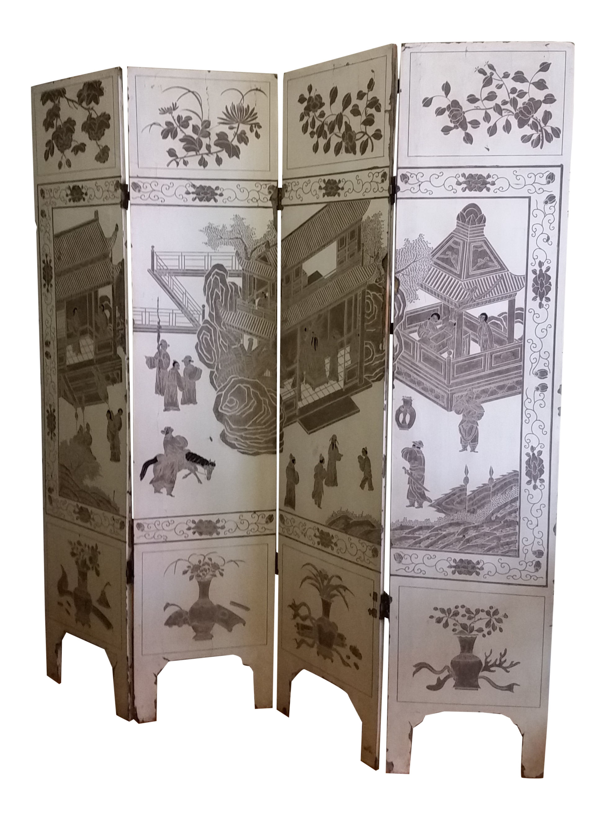 1920s Antique Chinese Gesso Screen Room Divider Chairish