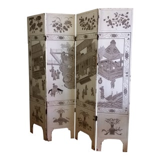 1920s Antique Chinese Gesso Screen Room Divider For Sale