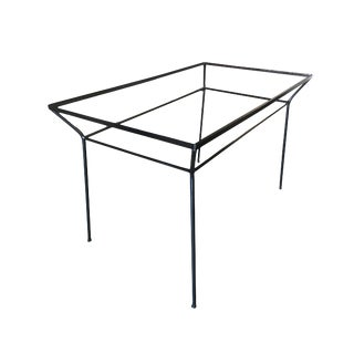 Art Deco Modernist Iron and Glass Patio/Outdoor Table For Sale