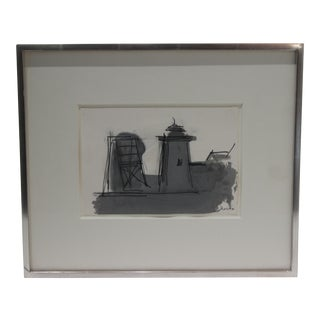 """Provincetown Massachusetts """"Old Highland Light"""" Ink Wash on Paper Signed by Listed Artist Paul Resika 2009 For Sale"""