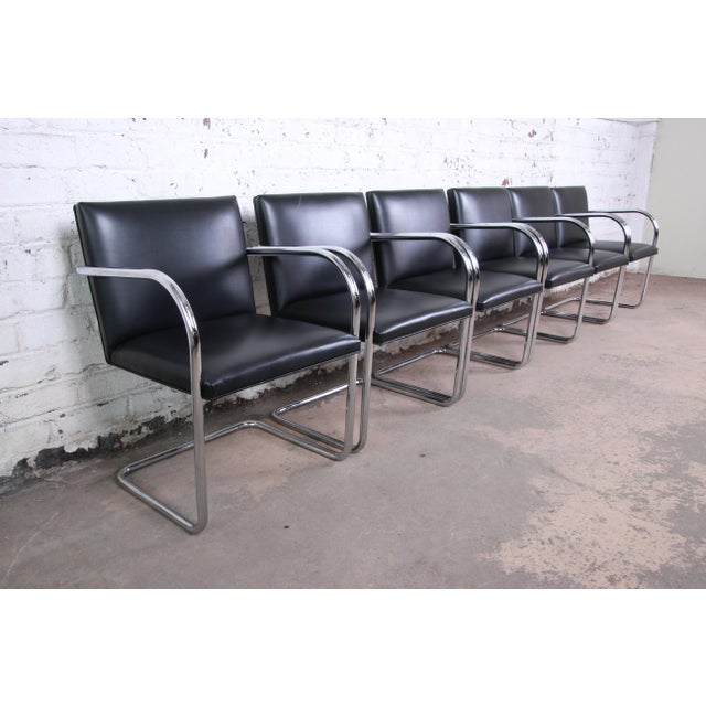 Knoll International Mies Van Der Rohe for Knoll Black Leather and Chrome Brno Chairs - Set of 6 For Sale - Image 4 of 13
