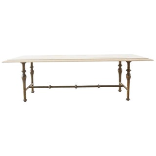 Italian Hollywood Regency Marble-Top Brass Cocktail Table For Sale