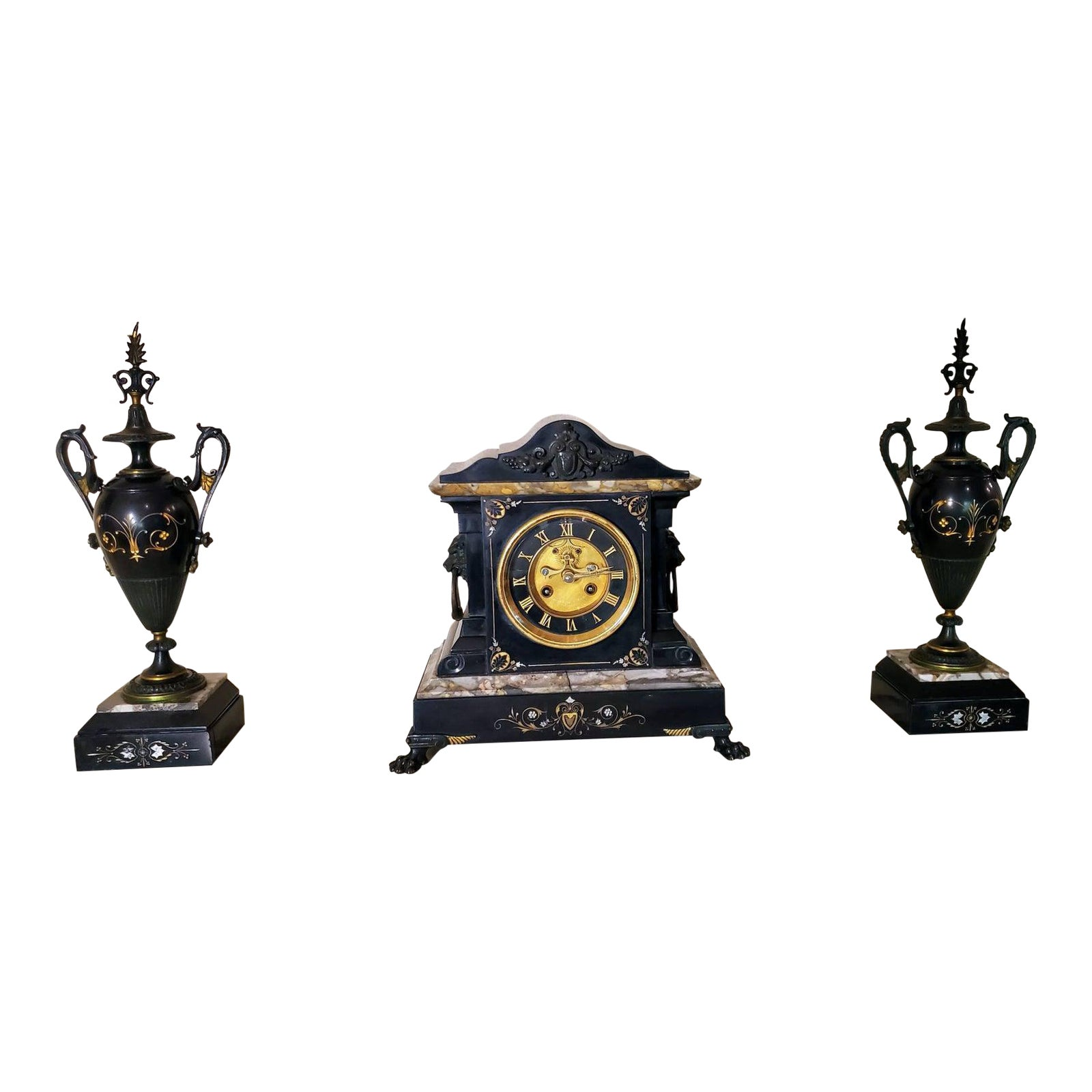 French Neoclassical Revival Mantel Clock Urn Garniture Set Chairish