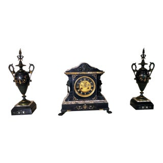 French Neoclassical Revival Mantel Clock & Urn Garniture Set For Sale