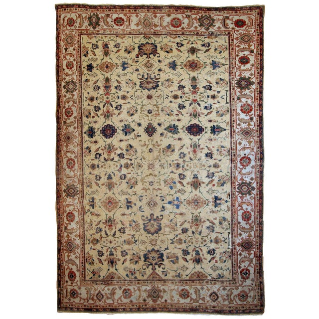 1900s Handmade Antique Persian Mahal Distressed Rug 8.10' X 11.6' For Sale - Image 9 of 9