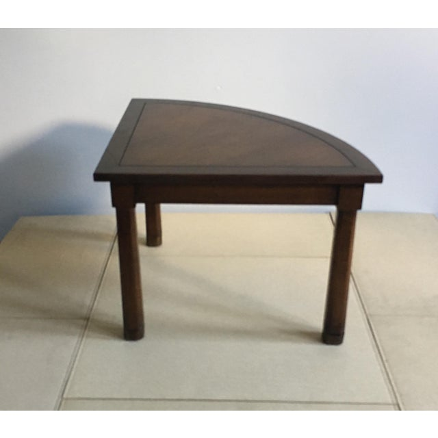 Art Deco Mid Century Corner Table With Reverse Tapered Legs For Sale - Image 3 of 11