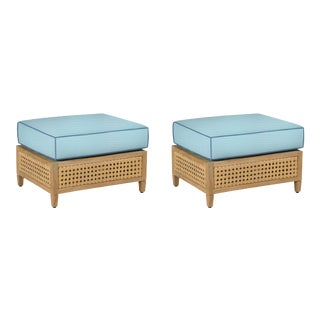 Keys Ottoman, Canvas Mineral Blue with Sapphire Blue Welt, Pair For Sale