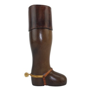 Italian Leather Boot Bottle Decanter C.1970 For Sale