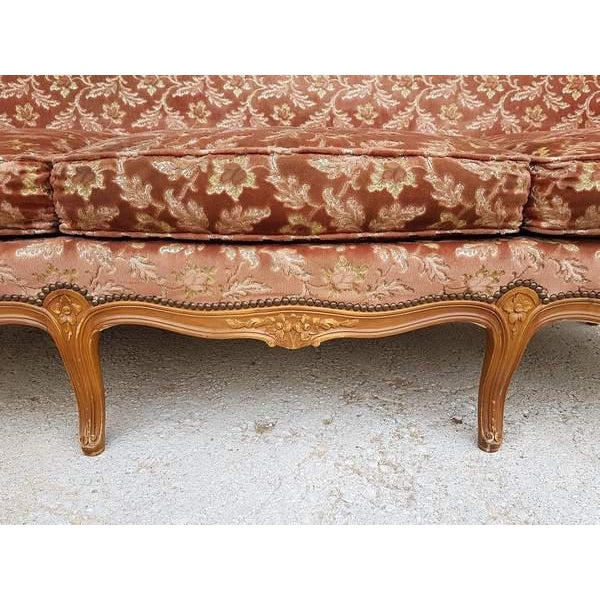 Pink Three Piece French Antique Louis XV Style Carved Parlor Suite Sofa Canape Loveseat For Sale - Image 10 of 13
