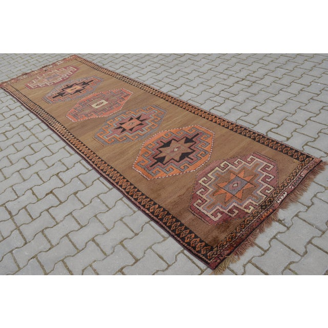 Hand Knotted Turkish Runner Rug - 3′7″ × 11′9″ - Image 2 of 9