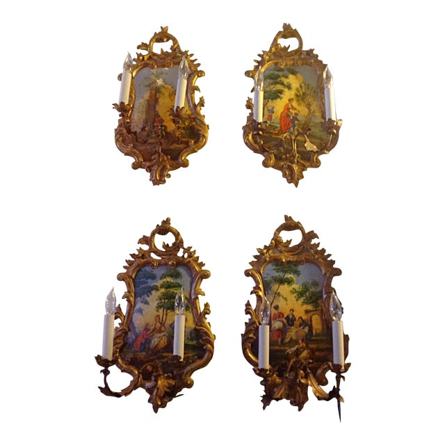 Venetian Wall Sconces - Set of 4 - Image 1 of 3