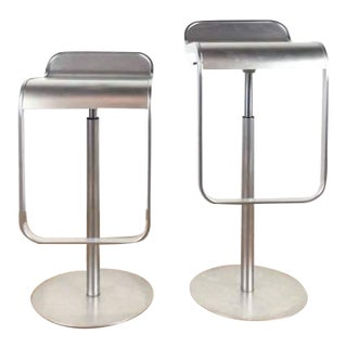 Metal Mid-Century Modern Style Lem Piston Chrome Bar Stools - a Pair