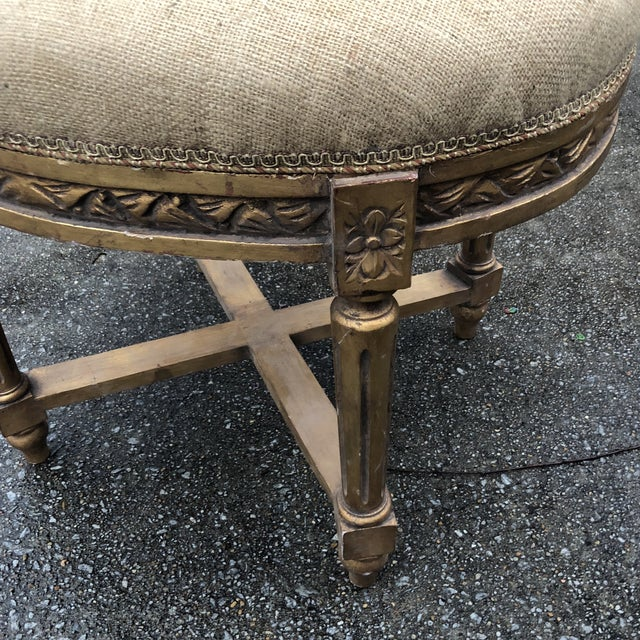 Stunning gilded X base burlap stool, perfect for the interior designer. Great condition and great for any space. Please...
