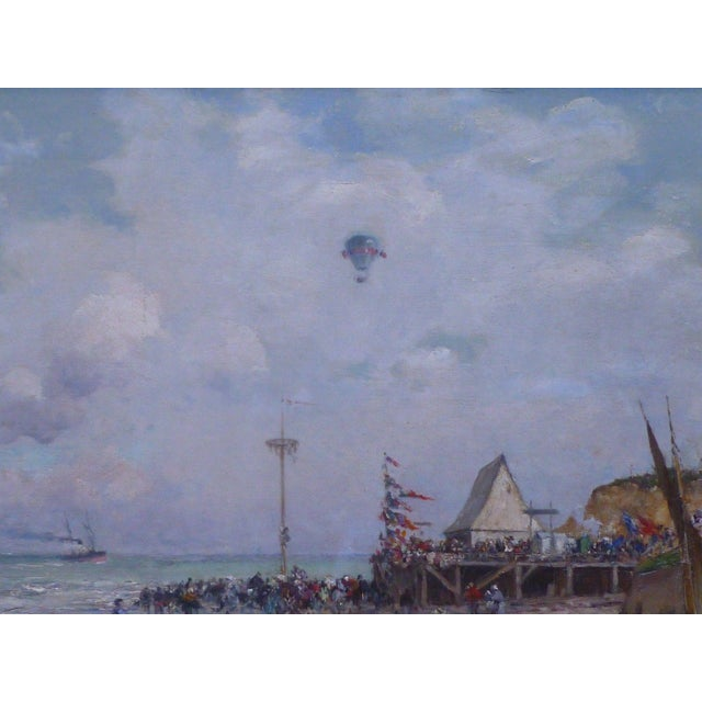 Early 19th Century 19th C French Impressionist Coastal Scene W Hot Air Balloon Painting For Sale - Image 5 of 10
