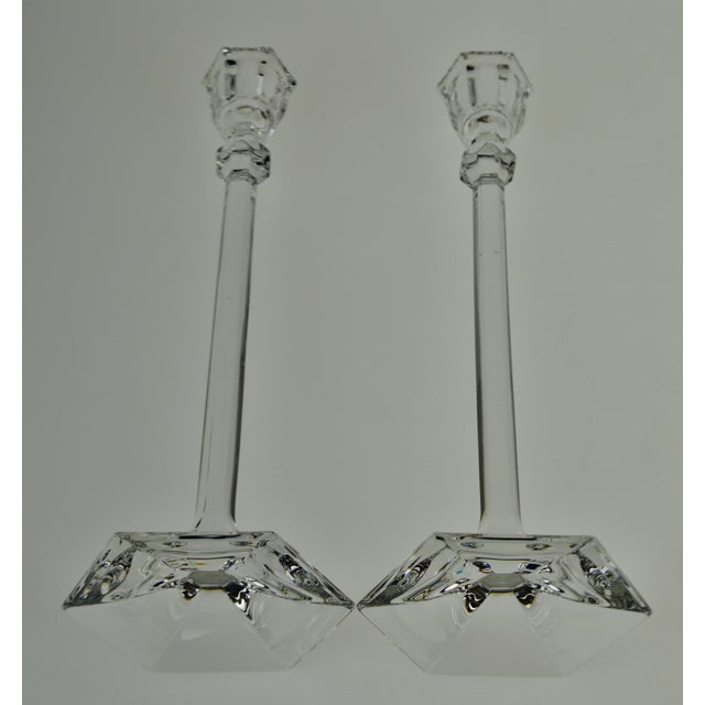 Vintage Glass Candlesticks - a Pair For Sale - Image 9 of 12