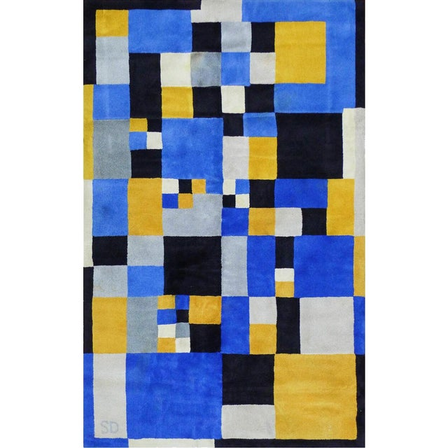 """Textile Limited Edition Rug After Sonia Delaunay - """"Magical Squares"""" For Sale - Image 7 of 7"""