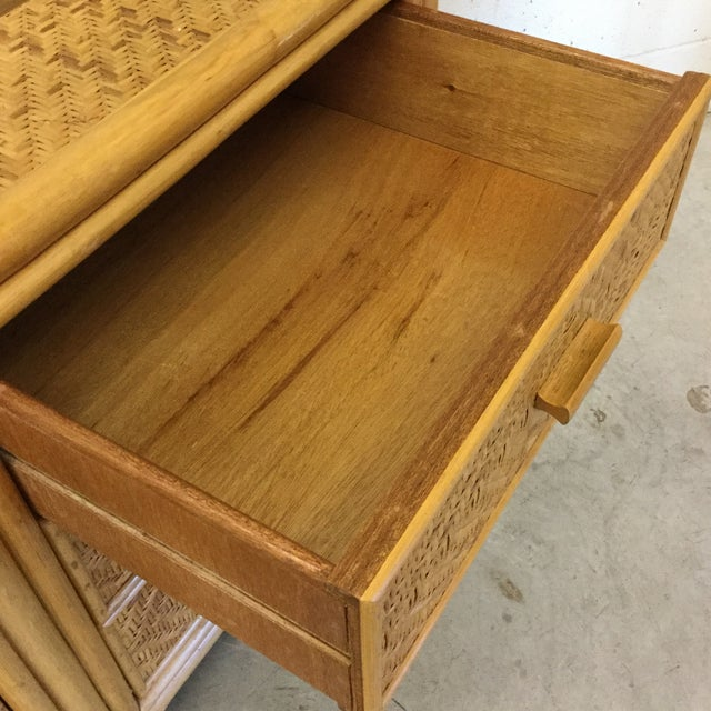 Vintage Bamboo & Wicker Floating Glass Top Credenza Buffet For Sale - Image 10 of 12