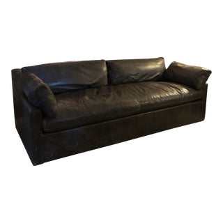 Restoration Hardware Leather Belgian Classic Slope Sleeper Sofa For Sale