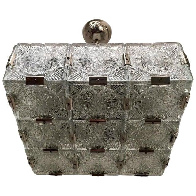 Image of 1960s Czech Bohemian Crystal Flush Pendant