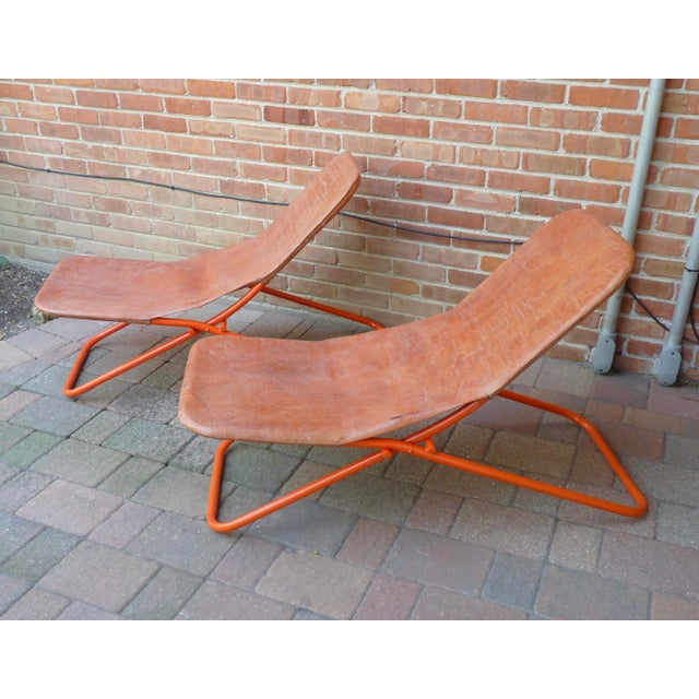 Orange Modern Leather Lounge Chairs - a Pair For Sale - Image 8 of 8