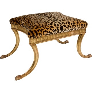 Gilt Wood and Leopard Klismos Style Bench Preview