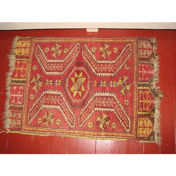 """Small """"Persian Rug"""" is an Oriental Rug that was woven in the former Persian Empire. It is a Mafrash (Soumak panel) piece..."""