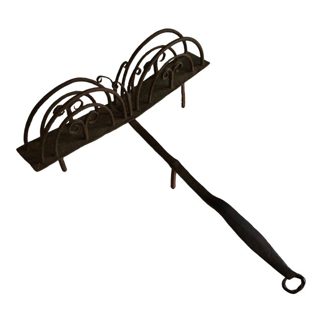 18th Century American Colonial Hand Forged Wrought Iron Rotary Bread Toaster For Sale