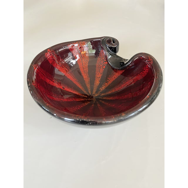 """Vintage red and black """"Circus Tent"""" Murano glass bowl designed by Alfredo Barbini, Italy, circa 1950s. This piece is part..."""