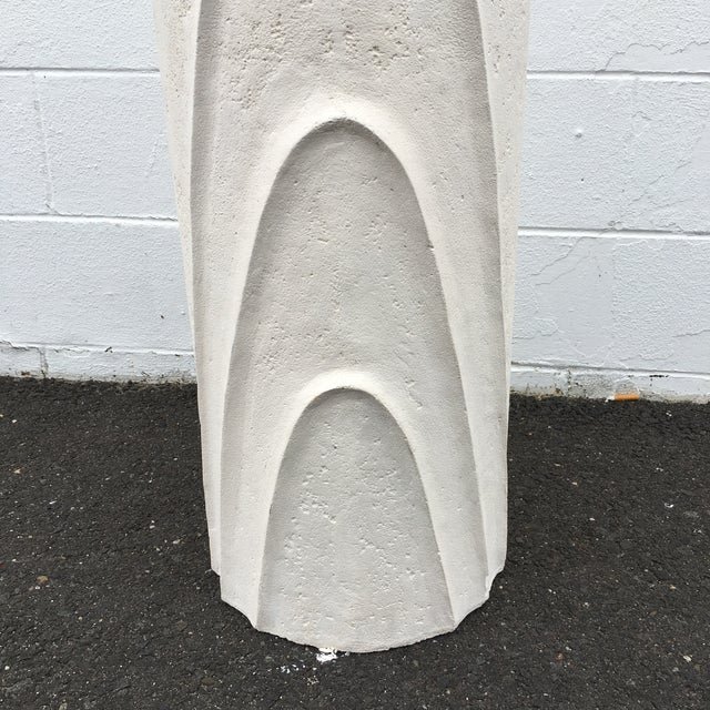 Plaster Concentric Oval Sculptural Plaster Pedestal For Sale - Image 7 of 8