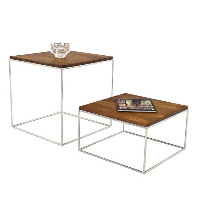 Chrome Cube Nesting End Side Table For Sale - Image 5 of 9