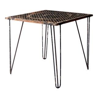 Mid-Century Hairpin Leg Iron Patio Table For Sale