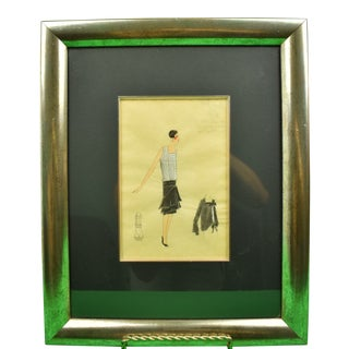 1920s Lanvin of Paris Portrait of a Fashion Model Watercolor Painting, Framed For Sale