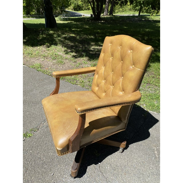 Super comfortable, genuine leather vintage chair. Made in the 1960's-1970's by Jasper Seating. Some wear consistent with...