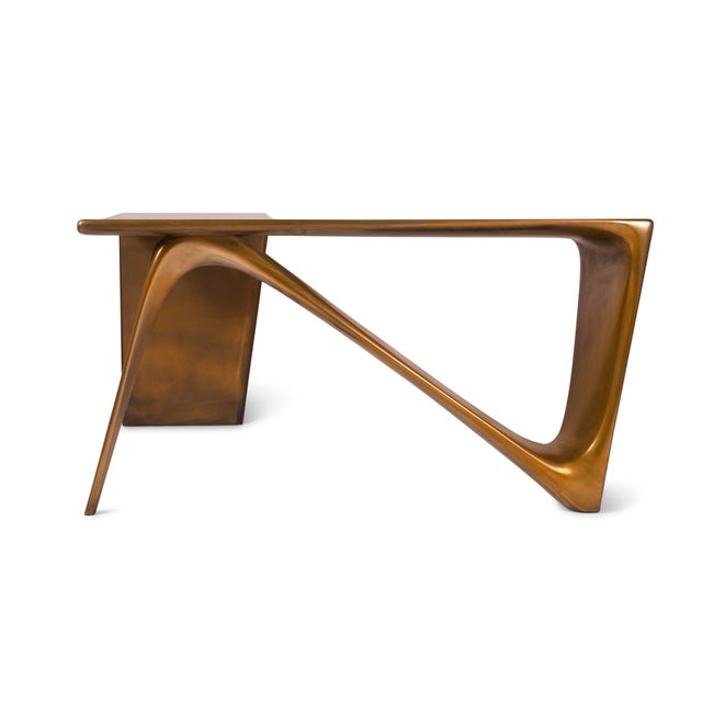 Paint Amorph Astra Desk, L Shaped Desk Gold Finish For Sale - Image 7 of 8