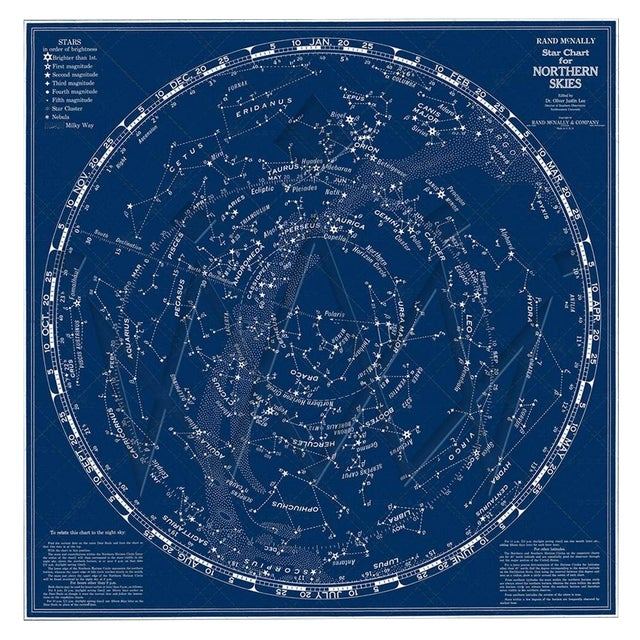 Rand McNally Star Chart Northern Skies Print For Sale