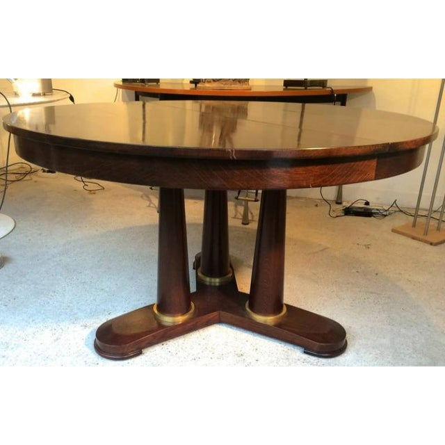Jean Royère Jean Royère Genuine Tripod Round Dinning Table With Tri-Pedestal Base For Sale - Image 4 of 6