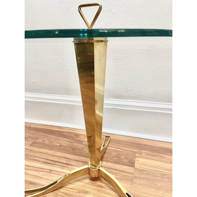Vintage 1950s Italian Brass Faceted Drinks Table For Sale - Image 4 of 6