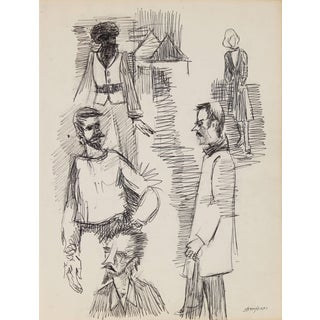 Pasquale Patrick Stigliani New York Portrait Studies Drawing in Ink, Circa 1970s For Sale