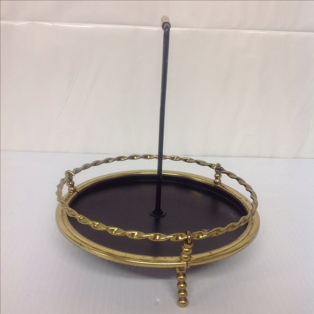 Hollywood Regency MidCentury Brass & Black Lacquer Catch All Dish For Sale - Image 3 of 5